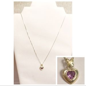 Sterling Silver Purple Heart Necklace